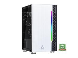 Montech Flyer Micro ATX Computer Gaming Case/ High-Airflow, Acrylic Side Panel, Pre-Installed 2 x 120mm Fan, Hairline Surface Front Panel, RGB LED Shinning Strip/ Micro ATX, Mini-ITX/ Black, White