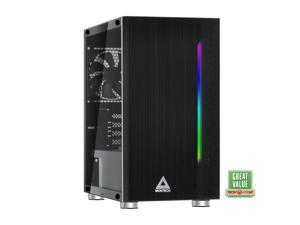 Montech Flyer Micro ATX Computer Gaming Case/ High-Airflow, Acrylic Side Panel, Pre-Installed 2 x 120mm Fan, Hairline Surface Front Panel, RGB LED Shinning Strip/ Micro ATX, Mini-ITX/ Black