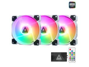 Montech Z3 PRO Addressable RGB 120mm Fan, 3 in 1 with Lighting Controller, PWM Control for Computer Case, ARGB Remote Controller, Programmable Lighting Effects, White Fan Frame