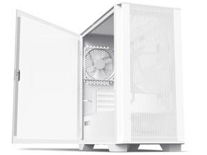 Montech AIR 100 LITE MICRO-ATX Tower with Two Silent Fans Pre Installed, Ultra-Minimal Design, Fine Mesh Front Panel, High Airflow, Unique Side Swivel Tempered Glass, Dust Protection, White