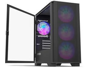 Montech AIR 100 ARGB MICRO-ATX Tower with Four ARGB Fans Pre Installed, Ultra-Minimalist Design, Fine Mesh Front Panel, High Airflow, Unique Side Swivel Tempered Glass, Dust Protection, Black
