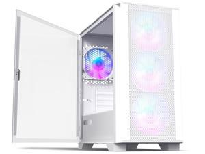 Montech AIR 100 ARGB MICRO-ATX Tower with Four ARGB Fans Pre Installed, Ultra-Minimalist Design, Fine Mesh Front Panel, High Airflow, Unique Side Swivel Tempered Glass, Dust Protection, White