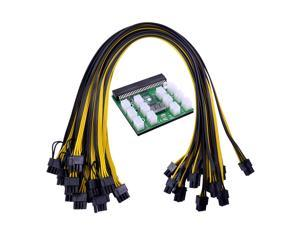 Plugadget Power Module Breakout Board Kits with 12pcs 6Pin to 6+2 8Pin Power Cable for HP 1200W 750W PSU GPU Mining Ethereum