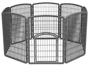 IRIS 34-inch Exercise 8-Panel Pet Playpen with Door, Gray