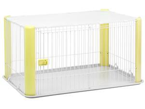 IRIS Wire Dog Crate with Mesh Roof, Yellow