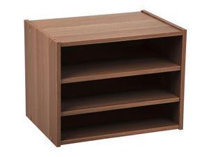 IRIS TACHI Modular Wood Stacking Storage Box with Shelf, 1 Pack, Dark Brown