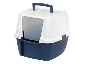 IRIS Jumbo Hooded Litter Box without Scoop, Navy