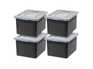 IRIS Classic Letter and Legal Size File Box, 4 Pack, Black/Clear