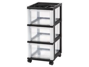 IRIS Medium 3-Drawer Cart with Organizer Top, 1 Pack, Black