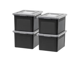 IRIS Dual Purpose Letter and Legal Size File Box, 4 Pack, Black/Clear