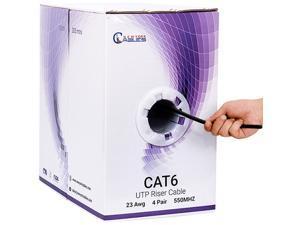 CAT6 Riser CMR 1000ft UTP 23AWG 550MHz Fluke Tested Bulk Ethernet Cable Black