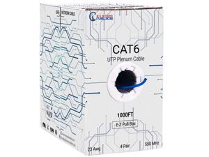 CAT6 Plenum (CMP) Cable, 1000FT | Fluke Tested | 23AWG, 550MHz Network Cable Unshielded Twisted Pair (UTP) Blue