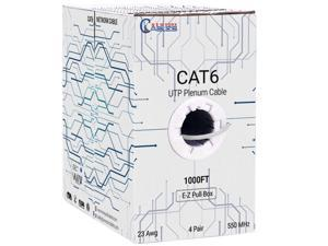 NewyorkCables CAT6 Plenum (CMP) Cable, 1000FT | Fluke Tested | 23AWG, 550MHz Network Cable Unshielded Twisted Pair (UTP) White