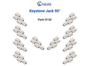 Cat6 RJ45 Keystone Jack 90 Degree Insert, 50-Pack UTP Cat6 Punch Down Keystone Jack Adapter for ethernet Wall Plate, White