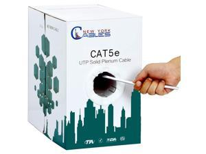 White Cat5e Plenum UTP Solid Copper 24AWG 350MHz High Speed LAN Network Ethernet Wire Internet Patch Cable CMP