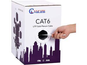 NewYork Cables CAT6 Plenum Cable 1000ft (CMP) | Plenum Rated Wire Tested with Fluke Networks DTX-1800 Cable Analyzer, 23AWG Solid 550MHz, 4Pair 10Gigabit UTP Internet Cable, (White)