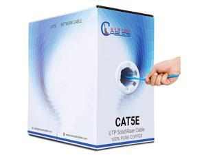 CAT5e Riser (CMR) 1000ft Bulk Ethernet Cable   100% Solid Bare Copper   24AWG, 350MHz, 4Pair UTP, 10 Gigabit Speed  Quality Tested, Guaranteed High Bandwidth & Stable Performance Network Cable - Blue