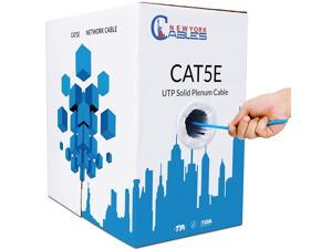 CAT5e Plenum (CMP) 1000ft Bulk Ethernet Cable   100% Solid Bare Copper   24AWG, 350MHz, 4Pair UTP, 10 Gigabit Speed  Quality Tested, Guaranteed High Bandwidth & Stable Performance Network Cable - Blue