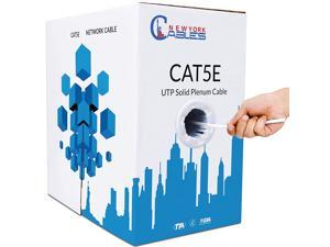 CAT5e Plenum (CMP) 1000ft Bulk Ethernet Cable   100% Solid Bare Copper   24AWG, 350MHz, 4Pair UTP, 10 Gigabit Speed  Quality Tested, Guaranteed High Bandwidth & Stable Performance Network Cable, White
