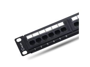 Newyork Cables, Cat6 Patch Panel 12 Port - RJ45 Punch Down Keystone Jacks - Standard Heavy-Duty Panel with 1 Bar, Cable Ties, Screws - Ethernet Network -10 Inch, 1u Horizontal