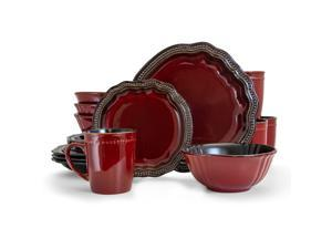 Elama Regency 16 Piece Luxurious Stoneware Dinnerware with Complete Setting for 4 16pc