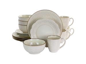Elama Contessa 16 Piece Embossed Scalloped Stoneware Dinnerware Set in Ivory