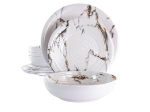 Elama Fine Sculpture 12 Piece Lightweight Melamine Dinnerware Set in White