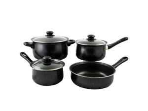 Gibson Home Casselman 7 piece Cookware Set in Black with Bakelite Handle
