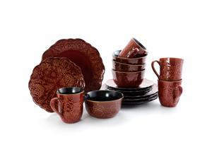 Gibson Portina 16 Piece Stoneware Dinnerware Set in Rust Service for 4