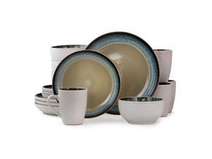 Elama Modern Dot 16 Piece Luxurious Stoneware Dinnerware with Complete Setting for 4