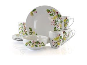 Gibson Home Holiday Holly 12 Piece Fine Ceramic Dinnerware Set