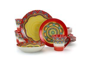 Elama Zen Red Mozaik 16 Piece Luxurious Stoneware Dinnerware with Complete Setting for 4 16pc