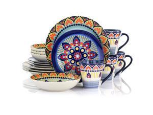 Elama Zen Blue Mozaik 16 Piece Luxurious Stoneware Dinnerware with Complete Setting for 4 16pc