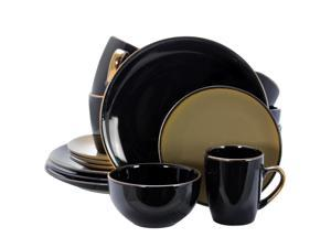 Elama Cambridge Grand 16Piece Dinnerware Set in Luxurious Black and Warm Taupe with Complete Setting for 4