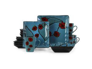 Elama Aloha Tide 16 Piece Luxurious Stoneware Dinnerware with Complete Setting for 4