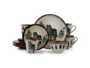 Elama Majestic Wolf 16 Piece Luxurious Stoneware Dinnerware with Complete Setting for 4