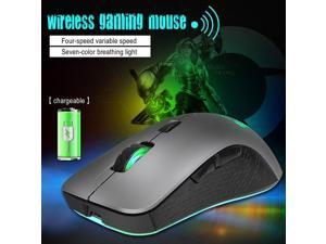 Mouse Rechargeable Cordless Mouse 2.4G 2400 DPI Gaming Mouse with light gray