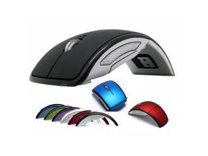 Mini Slim 2.4GHz  Wireless Arc Foldable Folding Optical Mouse Mice For Laptop PC USB 2.0 Receiver red