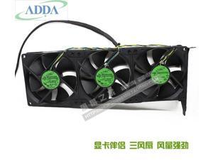 3-fans/lot ADDA AD0912UX-A7BGL DC 12V 0.50A VGA Graphics card cooling companion PCI fan