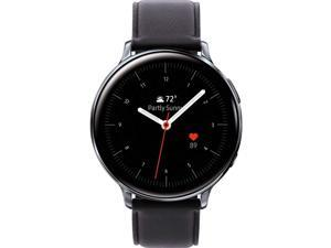 Samsung Original Galaxy Watch Active2 w/; auto Workout Tracking, and pace Coaching Enhanced Sleep Tracking Analysis Stainless Steel CASE and Leather Band (International Model) (Silver, 44mm)