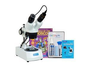 OMAX 20X-40X-80X Cordless Binocular Stereo Microscope Dual LED Lights+5MP Camera+Cleaning Pack+Book