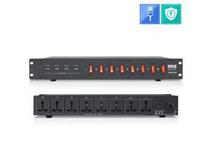 PDU Power Strip Surge Protector - 150 Joule 8 Outlet Strips Surge Protector Heavy Duty Electric Extension Cord, Rack Mount Protection Power Outlet W/ 8 Front Switch, 4 USB Charge Ports - Pyle PDBC90