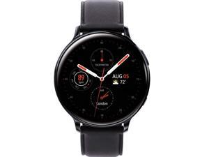 Samsung Original Galaxy Watch Active2 w/; auto workout tracking, enhanced sleep tracking analysis; STAINLESS STEEL CASE and LEATHER Band (International Model) (Black, 40mm) No LTE