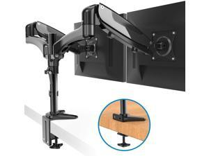 HUANUO Dual Monitor Stand Mount Fit Two 15 to 27 Inch Monitors with VESA 75x75 and 100x100, Weighing up to 17.6lbs