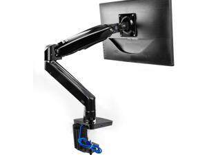 HUANUO Single Monitor Stand - Single Arm Gas Spring Monitor Desk Mount for 22 to 35 Inch Computer Screens Height Adjustable VESA Bracket with Clamp or Grommet Mounting Base - Holds 6.6 to 26.4 lbs