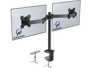HUANUO Double Monitor Stand - Dual Monitor Mount Desk Arm with C Clamp, Grommet Mounting Base for Two 13-27 Inch LCD Computer Screens - Each Holds up to 17.6lbs