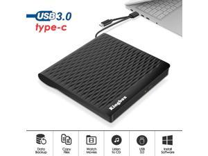 External DVD Drive,Kingbox USB 3.0/Type C Dual Port Portable Slim DVD Drive,DVD Player High Speed Data Transfer Perfect for Mac OS/Win7/Win8/Win10/Vista PC Desktop Laptop