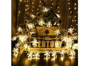 LED Snowflake String Light, 26.24 ft 80 LEDs Outdoor String Lights, Indoor Outdoor Curtain String Lights, Waterproof Fairy Lights for Xmas Garden Patio Bedroom Party Decor, Warm White, R007