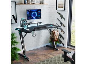 Gaming Desk, SEGMART Z-Shaped Computer Desk, Ergonomic E-Sport Home Office Desk Gaming Table, PC Computer Desk w/ RGB Lights, Monitor Stand, Cup Holder, Headphone Hook & Plug Board Holder, Black, R024