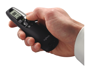 Logitech 2.4 GHz Presentation Remote With LCD display for time tracking up to 100 feet Green Laser Pointer Professional Presenter